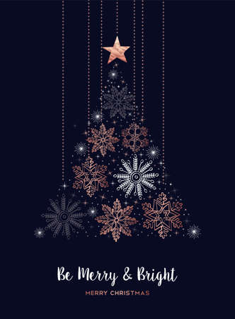 Ilustración de Merry Christmas greeting card design with copper snowflake shape pine tree for winter holiday season. - Imagen libre de derechos
