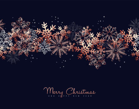 Ilustración de Merry Christmas greeting card design with copper snowflake pattern background for winter holiday season. - Imagen libre de derechos