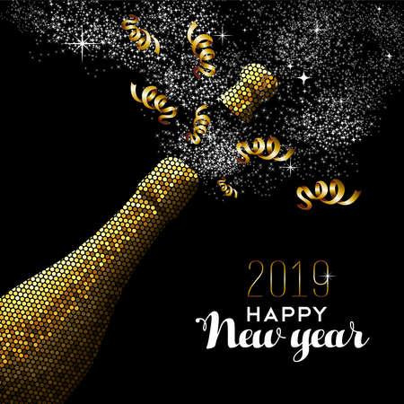 Ilustración de Happy new year 2019 luxury gold champagne bottle in mosaic style. Ideal for holiday card or elegant party invitation. - Imagen libre de derechos