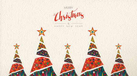 Ilustración de Merry Christmas and Happy New Year folk art greeting card illustration. Scandinavian style xmas pine tree with traditional geometric shapes in festive colors. - Imagen libre de derechos