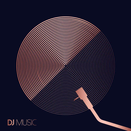 Ilustración de DJ music concept in geometric line art style with modern vinyl record design in luxury copper color. - Imagen libre de derechos