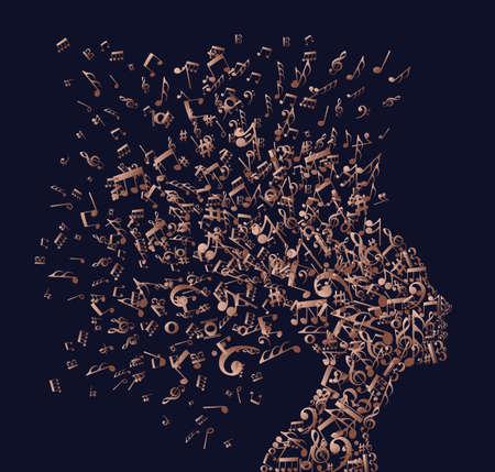 Ilustración de Music notes splash from woman's head illustration in luxury copper color. - Imagen libre de derechos