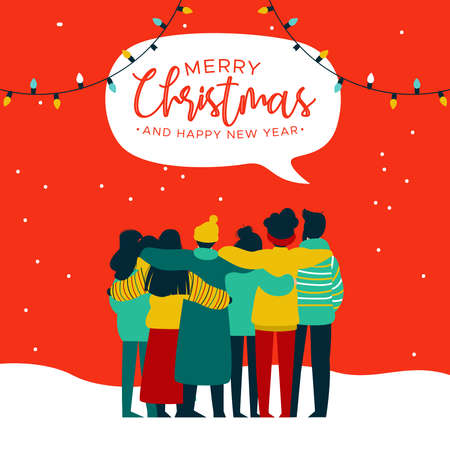 Illustration for Merry Christmas and Happy New Year greeting card illustration of young people friend group hugging together at xmas holiday party. Diverse culture friends team celebrating. - Royalty Free Image