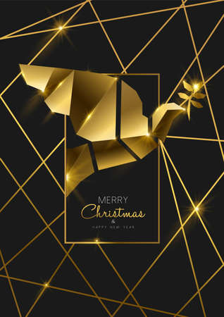 Ilustración de Merry Christmas and Happy New Year luxury golden greeting card illustration, peace dove ornament made of solid gold in 3d art deco style. - Imagen libre de derechos