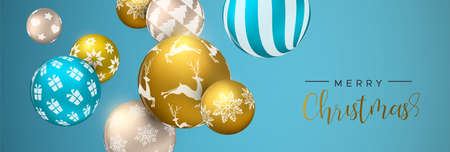 Illustration pour Merry Christmas web banner, gold and blue xmas bauble ornaments. Luxury holiday balls background for invitation or seasons greeting. - image libre de droit