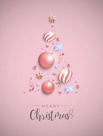 Illustration pour Merry Christmas card. Pink xmas bauble ornaments, iridescent stars and confetti making pine tree shape. Luxury holiday layout for invitation or seasons greeting. - image libre de droit