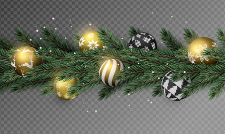 Illustration pour Realistic Christmas pine tree wreath garland with gold xmas ornament balls on transparent background. - image libre de droit