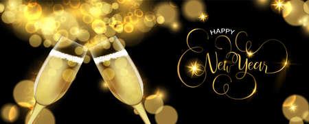 Ilustración de Happy New Year luxury golden greeting card illustration, realistic champagne glass toast on black background. - Imagen libre de derechos