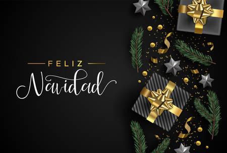Ilustración de Merry Christmas card in spanish language. Gold realistic 3d gift box elements, confetti, stars and pine tree leaf on black background. Luxury holiday layout illustration. - Imagen libre de derechos