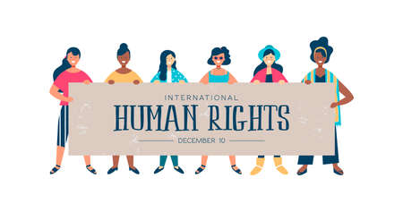 Illustration for International Human Rights month illustration for global equality and peace with diverse women group. - Royalty Free Image