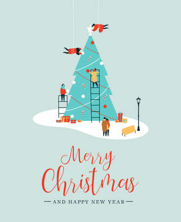 Ilustración de Merry Christmas and Happy New Year greeting card, People group making big xmas pine tree together for holiday season with ornament decoration, gifts. EPS10 vector. - Imagen libre de derechos