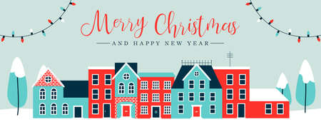 Illustration pour Merry Christmas and Happy New Year web banner illustration of cute houses in winter season. Holiday city landscape greeting card design with pine trees, snow, xmas lights decoration.  - image libre de droit