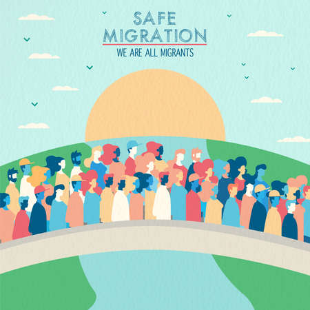 Illustration pour International Migrants Day illustration, diverse people group of different cultures crossing bridge for safe global migration or refugee help concept. - image libre de droit