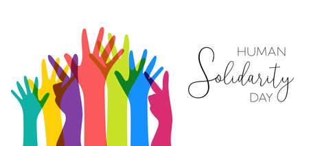 Ilustración de International Human Solidarity Day illustration with colorful hands from different cultures helping each other for community help, social support concept. - Imagen libre de derechos