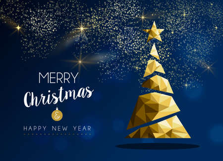 Ilustración de Merry christmas and happy new year gold pine tree in hipster triangle low poly style on blue background. Xmas greeting card or elegant holiday party invitation. - Imagen libre de derechos