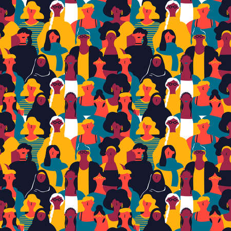 Illustration pour International Womens Day seamless pattern of diverse women faces. Colorful girl group background for equal rights march, feminist protest event or diversity concept. - image libre de droit