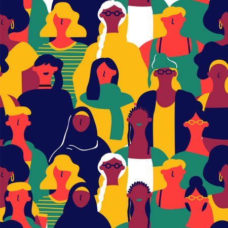 Ilustración de International Womens Day seamless pattern of diverse women faces. Colorful girl group background for equal rights march, feminist protest event or diversity concept. - Imagen libre de derechos