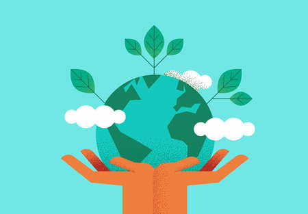 Illustration pour Human hands holding planet earth with green leaves for eco friendly concept. Environment care or nature help illustration. - image libre de droit