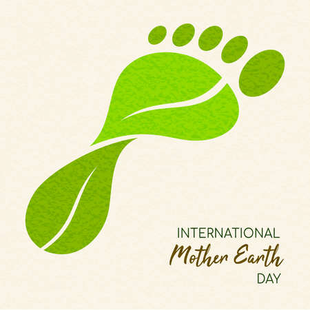 Illustration for International Earth Day illustration of carbon footprint concept. Green leaves making foot shape for environment care. - Royalty Free Image