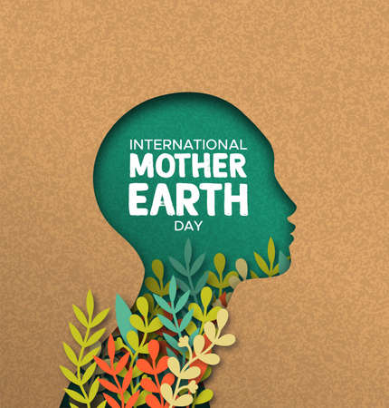 Illustration pour International Mother Earth Day poster illustration of papercut woman head with colorful plant leaves inside. Recycled paper cutout for environment conservation awareness. - image libre de droit