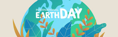 Illustration pour International Earth Day banner illustration. Green planet with tropical plant leaves for nature care and environment help. - image libre de droit
