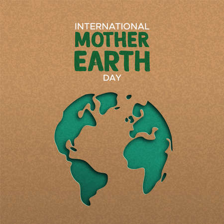 Illustration pour International Mother Earth Day illustration of green papercut world map. Recycled paper cutout for planet conservation awareness. - image libre de droit