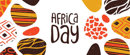 Happy Africa Day web banner illustration with traditional tribal hand drawn art for african freedom holiday.