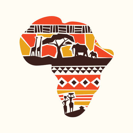 African map concept illustration with wild safari animals and africa tribe people on isolated background.