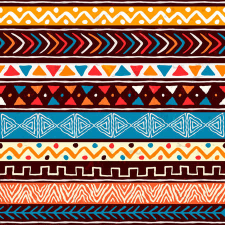Illustration pour Abstract african art style seamless pattern. Hand drawn tribal decoration background with boho doodle shapes and ethnic symbols. - image libre de droit