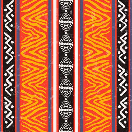 Illustration pour African art seamless pattern illustration with colorful tribal decoration. Wild boho background design. - image libre de droit