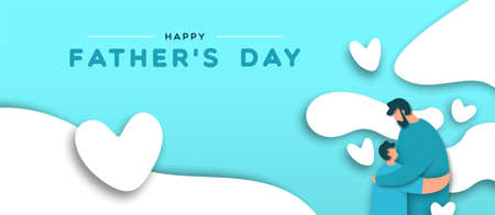 Illustration pour Happy Father's Day banner illustration of paper cut dad hugging kid for special father holiday celebration. - image libre de droit