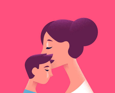Illustration for Mother and kid on isolated pink background. Mom kissing son for motherhood concept or special holiday. - Royalty Free Image