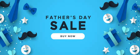 Illustration pour Happy Father's Day sale web banner for special dad holiday discount. 3D paper cut icons of tie, mustache, gift and more on blue color background. - image libre de droit