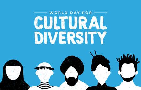 Ilustración de Cultural Diversity Day greeting card illustration. Diverse social group of people includes african, asian and american cultures. - Imagen libre de derechos