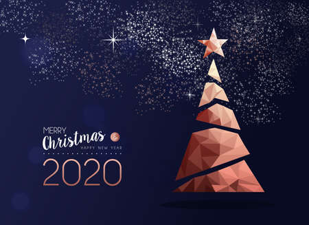 Ilustración de Merry christmas and happy new year 2020 copper pine tree in triangle low poly style. Xmas greeting card or elegant holiday party invitation. - Imagen libre de derechos