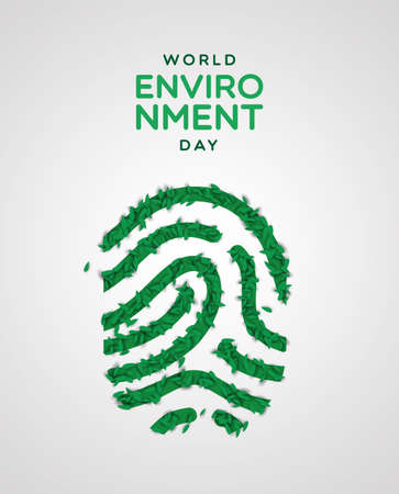 Ilustración de World Environment Day greeting card illustration. Realistic human finger print made of green plant leaves. Nature care concept for ecology event. - Imagen libre de derechos