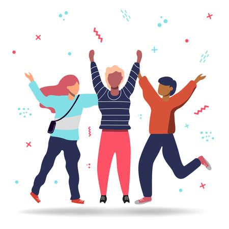 Ilustración de Group of three happy friends jumping in flat cartoon style. Colorful friendship illustration concept. - Imagen libre de derechos