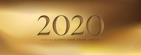 Happy New Year 2020 web banner illustration of luxury gold background with 3d papercut number.