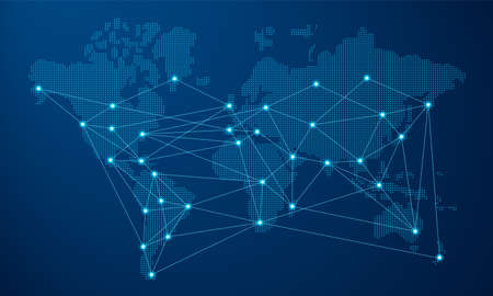 Illustration pour Modern blue world map  with futuristic digital network connection. - image libre de droit