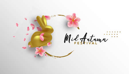 Illustration pour Mid autumn festival greeting card  of gold 3d rabbit toy and realistic pink plum flowers on white - image libre de droit