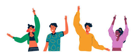 Illustration pour Diverse young people group waving hello and raised arms on isolated white - image libre de droit
