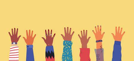 Ilustración de Diverse young people hands on isolated - Imagen libre de derechos