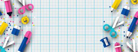 Illustration pour School banner  of colorful 3d papercut children class supplies on paper notebook - image libre de droit