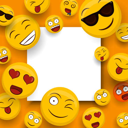 Vektor für Social yellow emoticon icons on isolated white copy space template. Fun smiley face cartoons includes happy, cute and funny emotions. - Lizenzfreies Bild