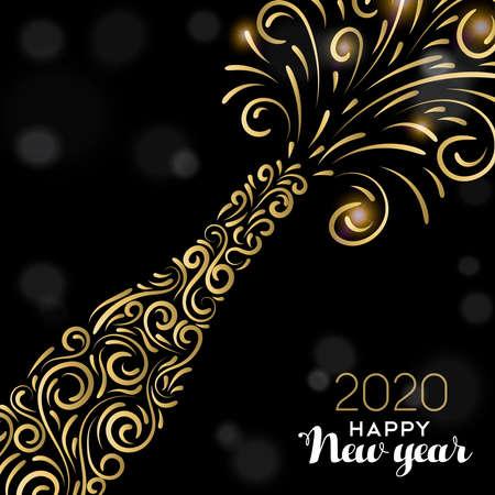 Ilustración de Happy New Year 2020 greeting card illustration. Luxury gold champagne bottle on black background for elegant holiday celebration. - Imagen libre de derechos