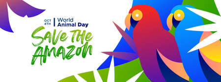 Illustration pour Save the Amazon web banner illustration for world animal day, rainforest deforestation awareness concept. Colorful brazilian macaw birds in modern vibrant flat gradient style. - image libre de droit