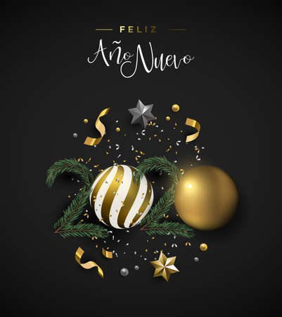 Illustration pour Happy New Year 2020 spanish language greeting card of 3d holiday decoration. Realistic luxury xmas ornament layout includes gold bauble, stars and pine tree on black background. - image libre de droit