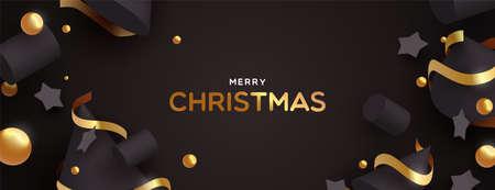 Ilustración de Merry Christmas web banner illustration. Abstract 3d ornaments on black color background with luxury gold decoration. - Imagen libre de derechos