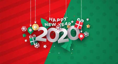 Ilustración de Happy New Year 2020 greeting card illustration of festive holiday papercut decoration. - Imagen libre de derechos