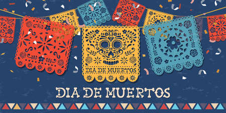 Illustration pour Day of the dead greeting card for mexican celebration, traditional mexico papercut banner decoration with colorful skulls and party confetti. - image libre de droit